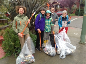 A little rain didn't stop these folks from pitching in to Keep Temescal Clean & Beautiful